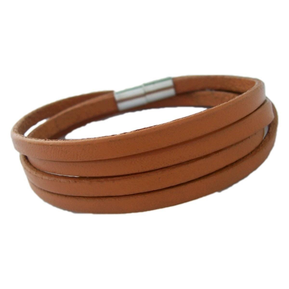 Armband Herren Damen Leder whiskybraun Magnetschließe Edelstahl A472