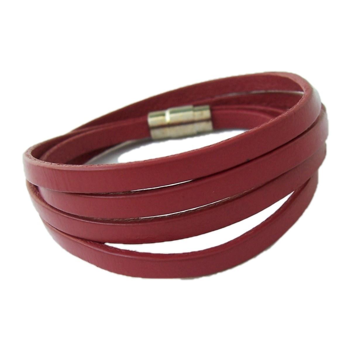 Armband Herren Damen Leder rot Magnetschließe Edelstahl A476