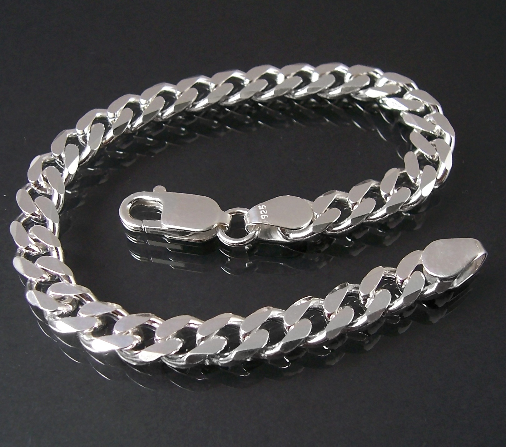 Silberarmband Panzerarmband 925 Silber 7,3mm Schmuck 21cm 13573-21