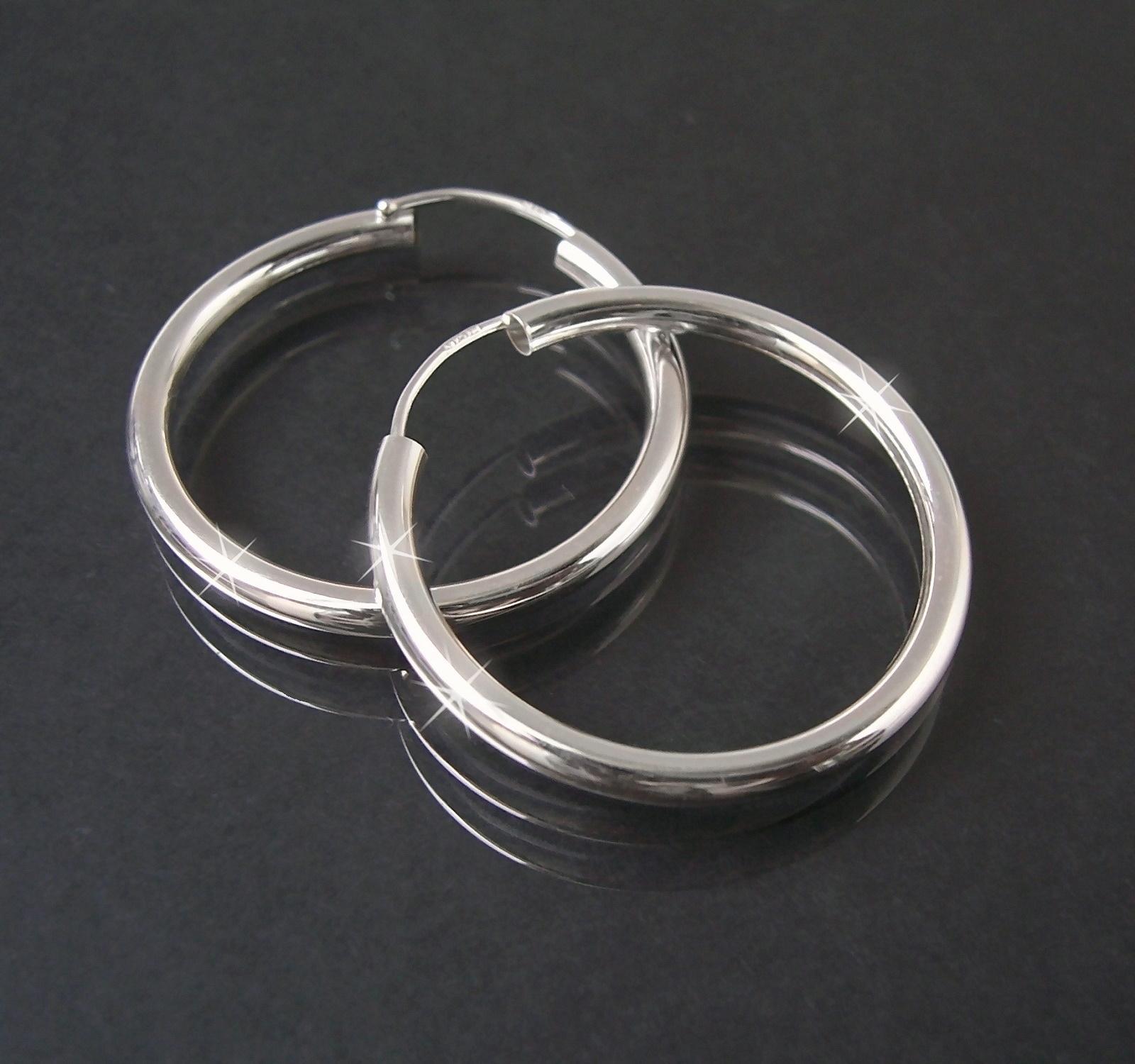 Creolen Silber 925 Niklarson Ohrringe 3cm Rohrcreolen 14125-30