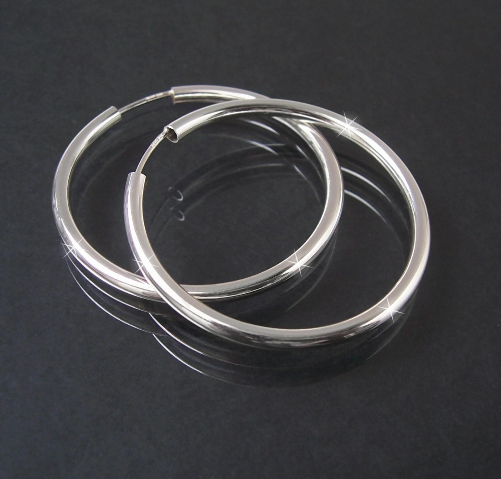 Creolen Silber 925 Niklarson Ohrringe 3,5cm Rohrcreolen 14125-35
