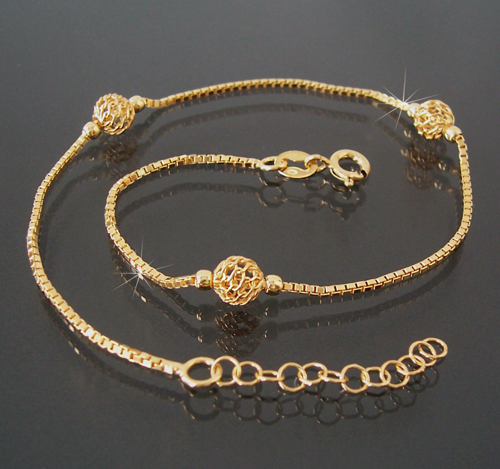 Fußkette Gold 1,8mm Veneziakette 925 Silber 24-27cm Perlen 14618G-27