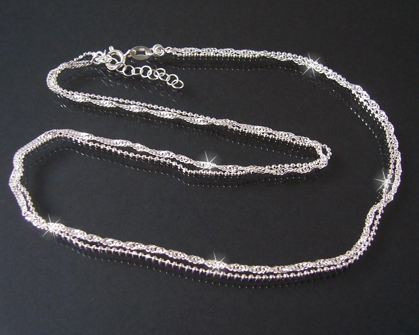 Halskette 2 Ketten Singapur- Kugelkette 925 Silber 3mmx45cm 14830-45