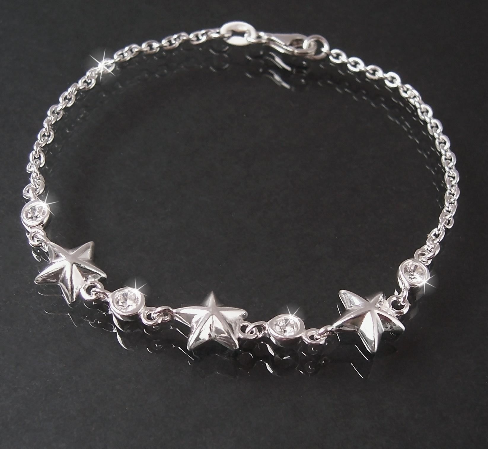 Armband Armkette 925 Silber Ankerkette Sterne Zirkonia 19cm 15020-19