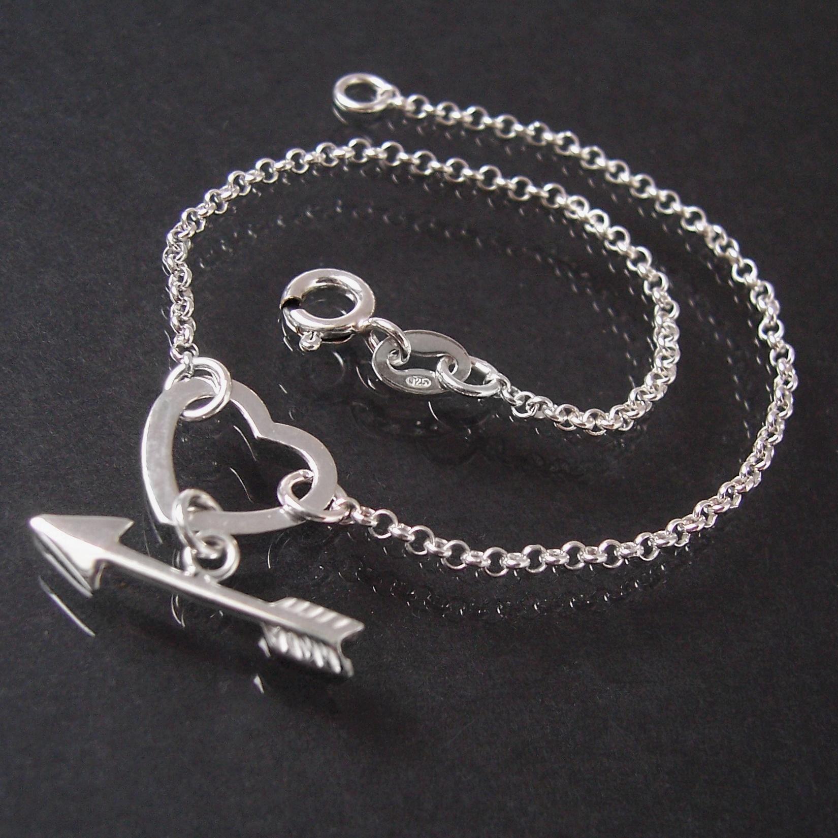Armband Armkette 925 Silber Ankerkette Herz Amors Pfeil 19cm 15220-19