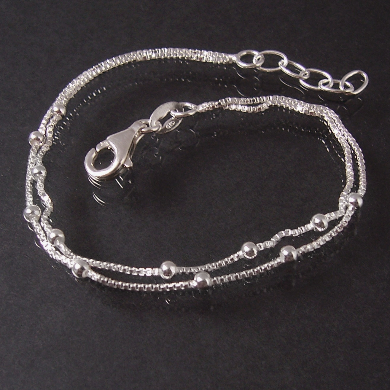 Armkette 925 Silber Veneziaketten 2lagig Perlen Länge 17-19cm 15326-19