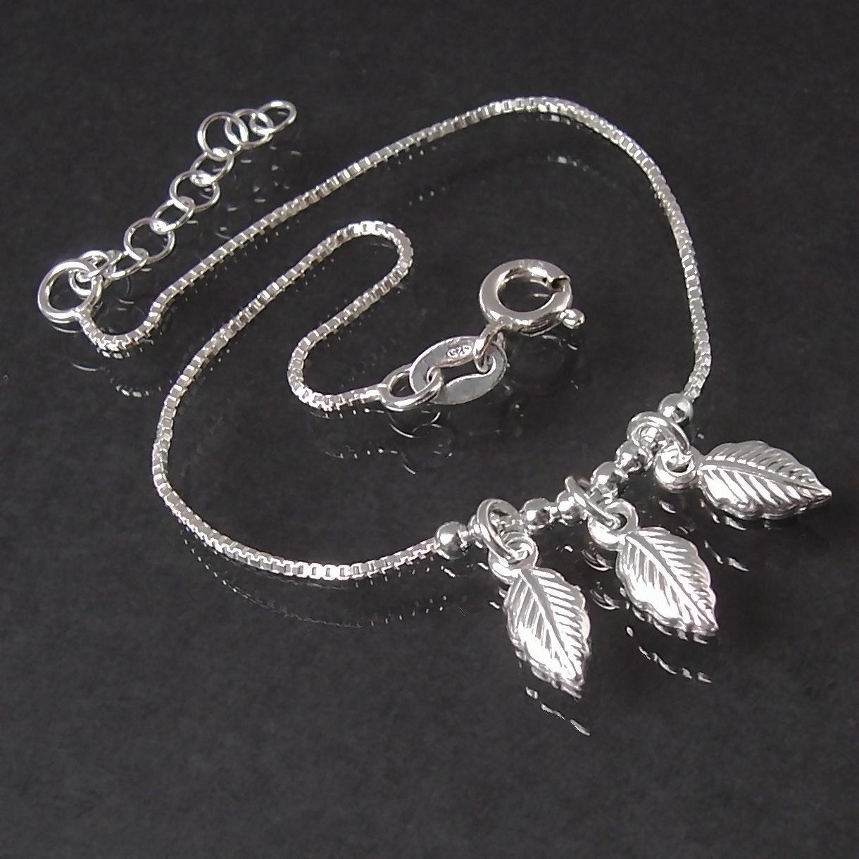 Armband Armkette 925 Silber Veneziakette 3 Blätter 17-19cm 15412-19