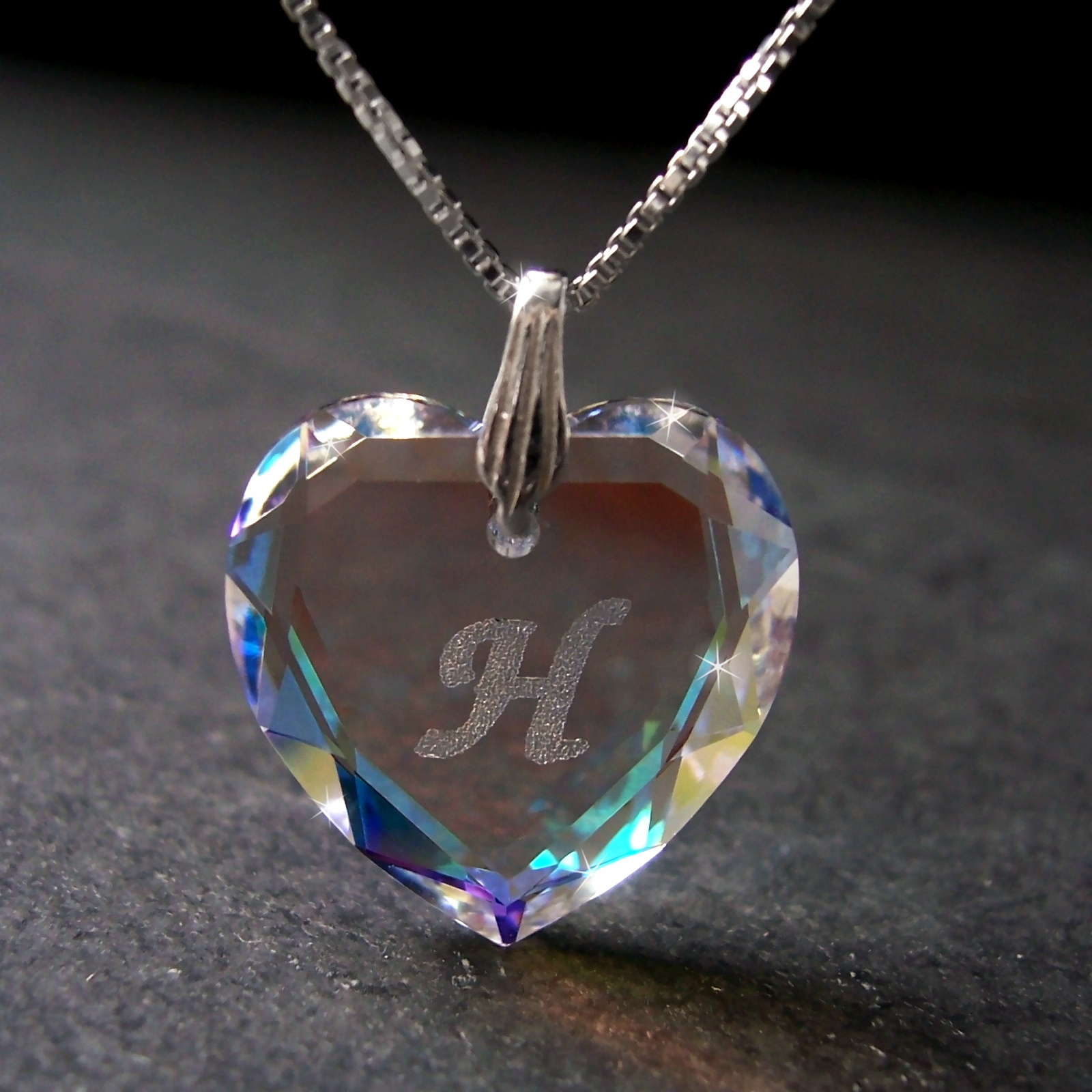 Kette 925 Silber Venezia 45cm Herz Swarovski Kristall BlueAB 1631245-H