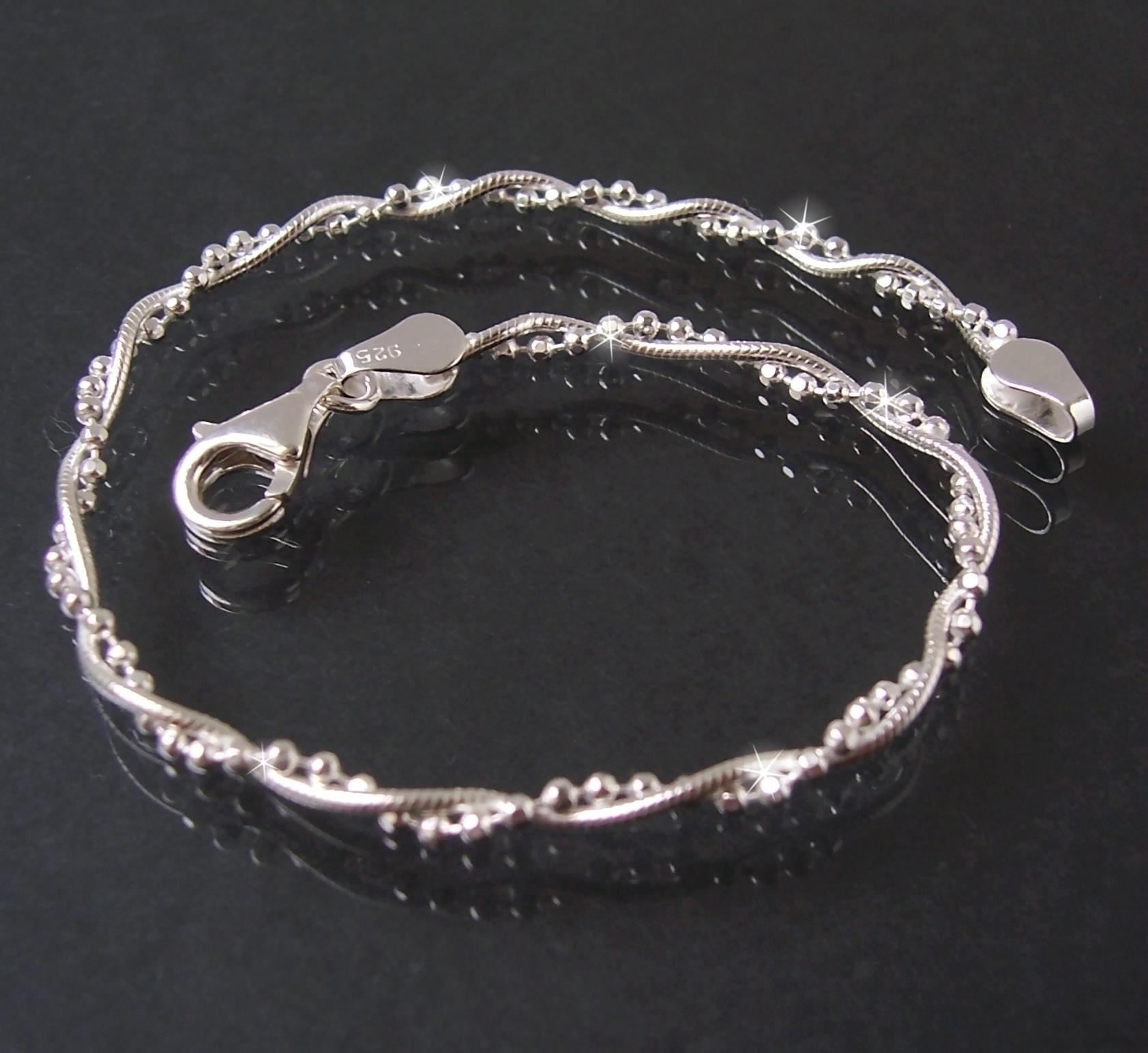 Armkette 2 Ketten Schlangenkette+ Kugelkette 925 Silber 19cm 16822-19