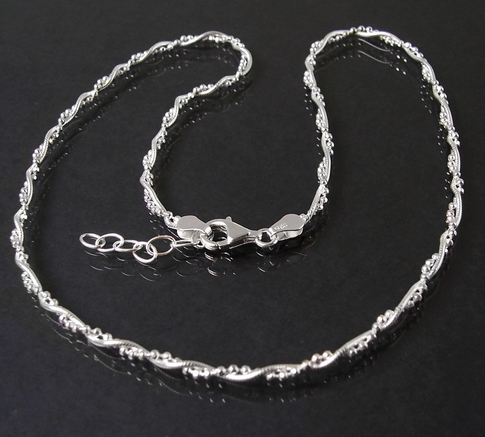 Halskette 2 Ketten Schlangenkette+ Kugelkette 925 Silber 45cm 16822-45