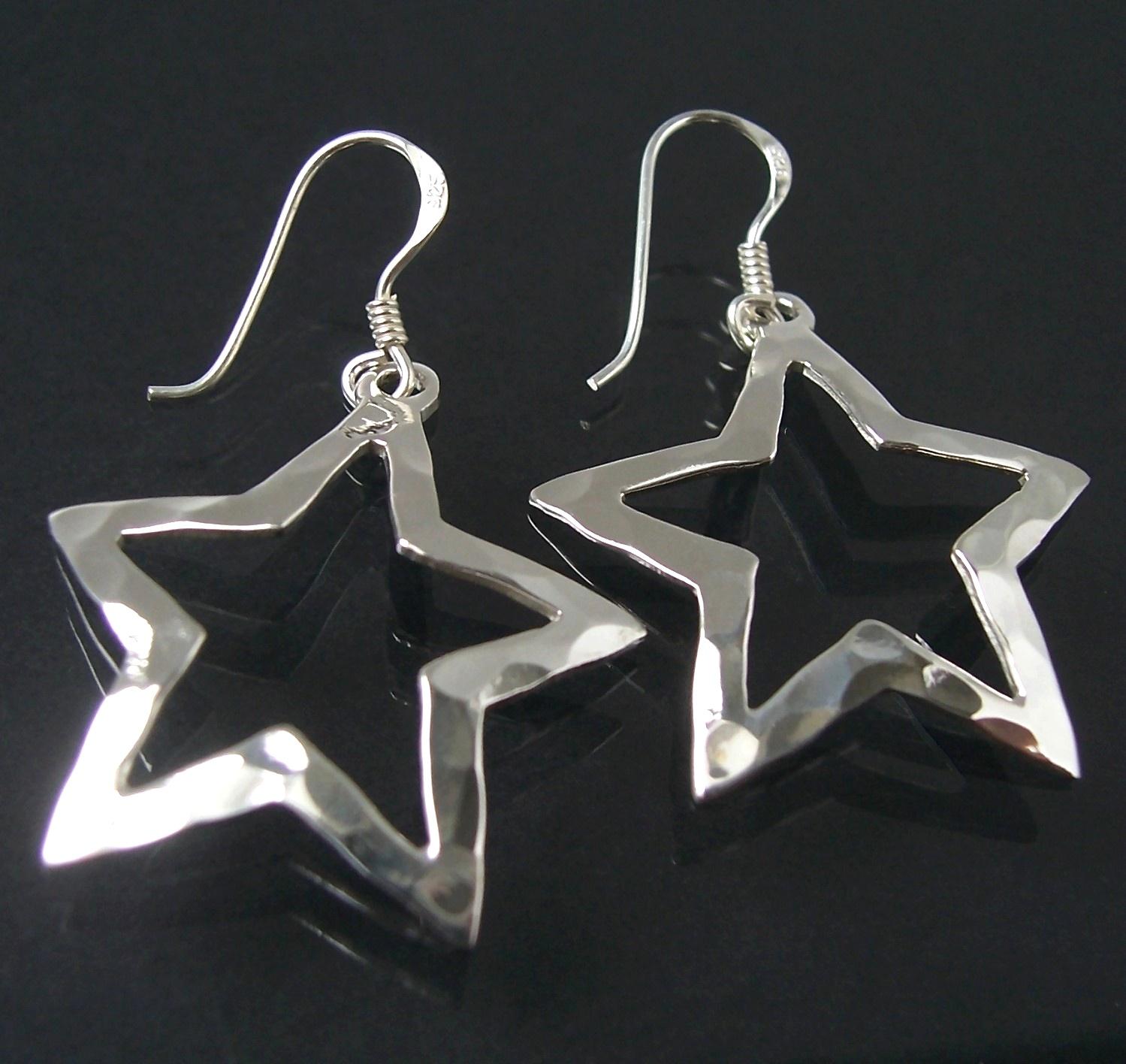 Ohrringe Silber 925 Niklarson Stern Sterlingsilber gehämmert 19025