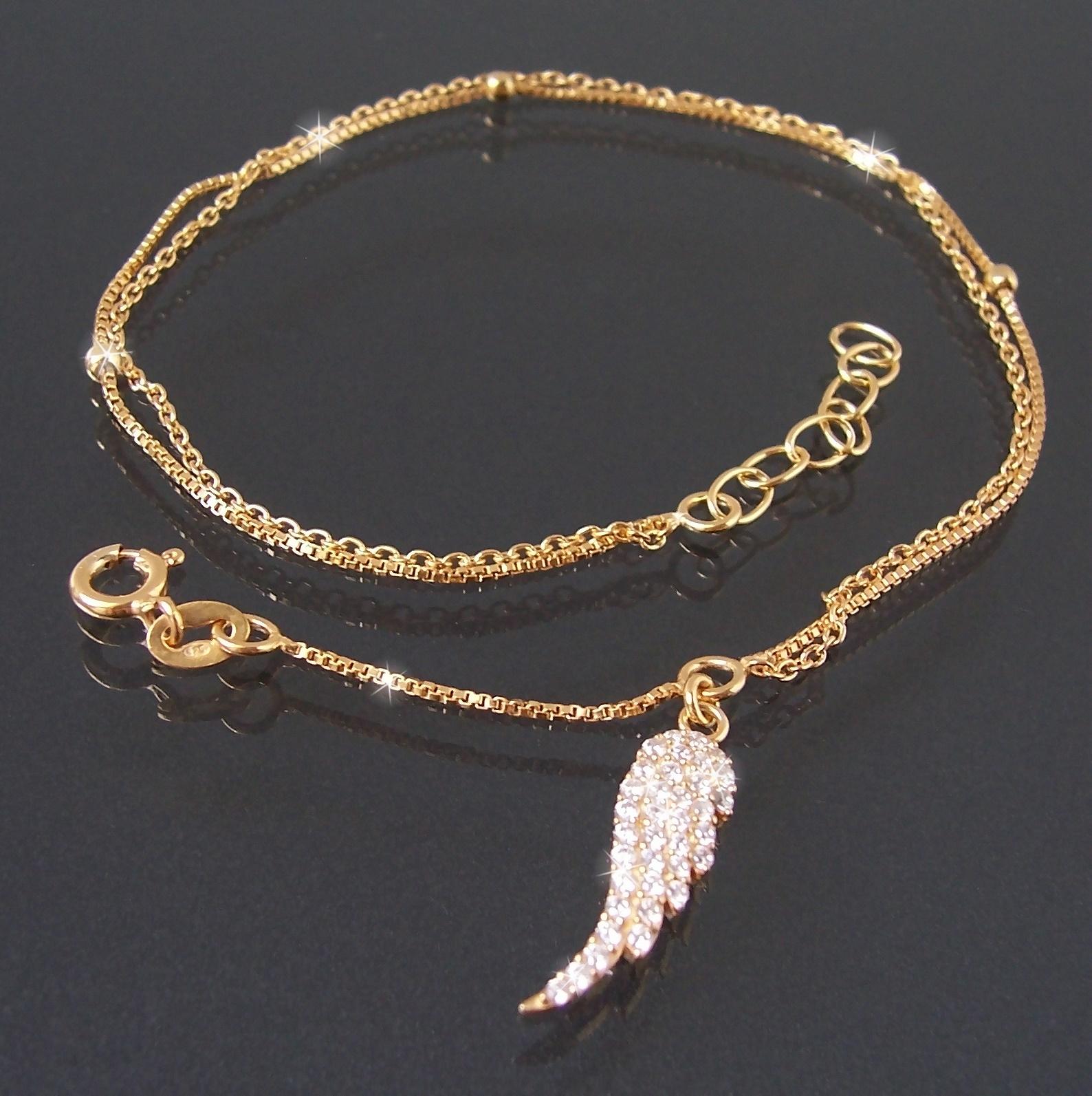 Fußkette Fuß Kette 925 Silber Gold Zirkonia 24-27cm Flügel 22820G-27