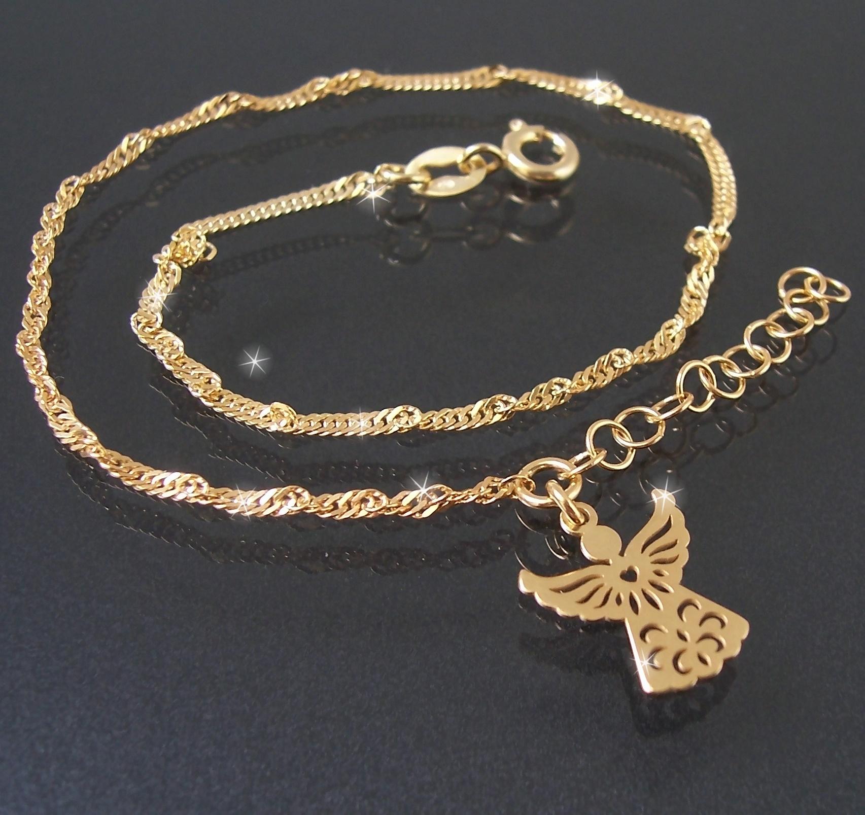 Fußkette Fuß Kette 925 Sterlingsilber Gold 24-27cm Engel 22920G-27