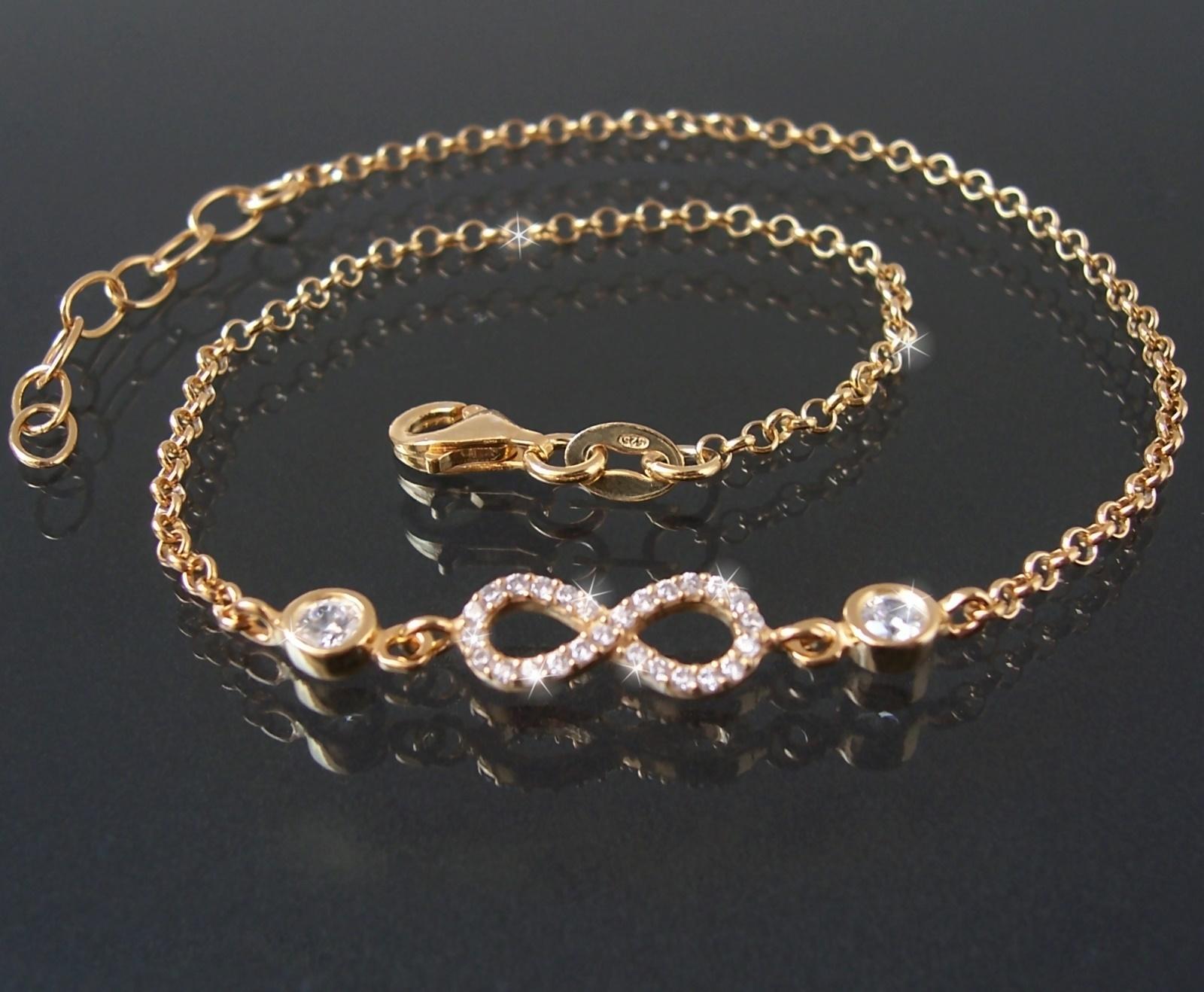 Fußkette Fuß Kette 925 Silber Gold 24-27cm Infinity Zirkonia 23020G-27