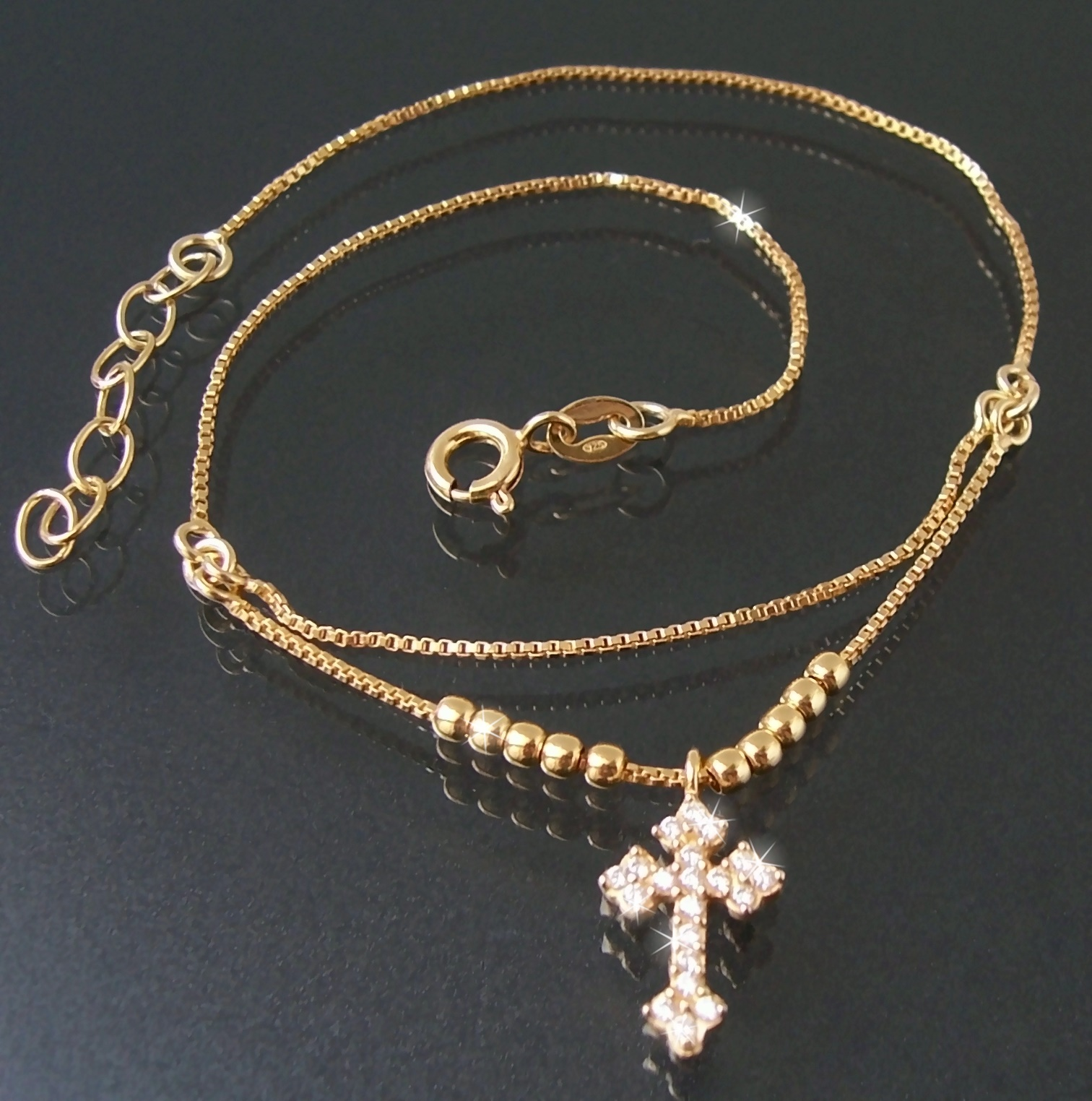 Fußkette Fußschmuck 925 Silber Gold 24-27cm Kreuz Zirkonia 23112G-27