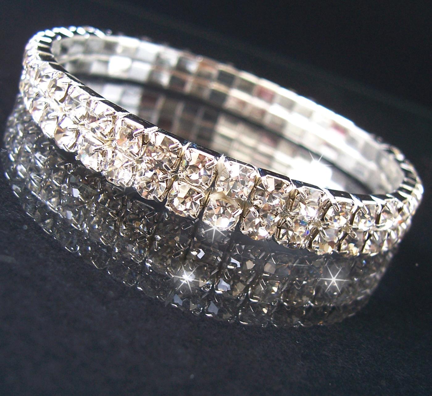 Armband Silber pl. stretch 7mm Strass Braut Schmuck Damen A1108