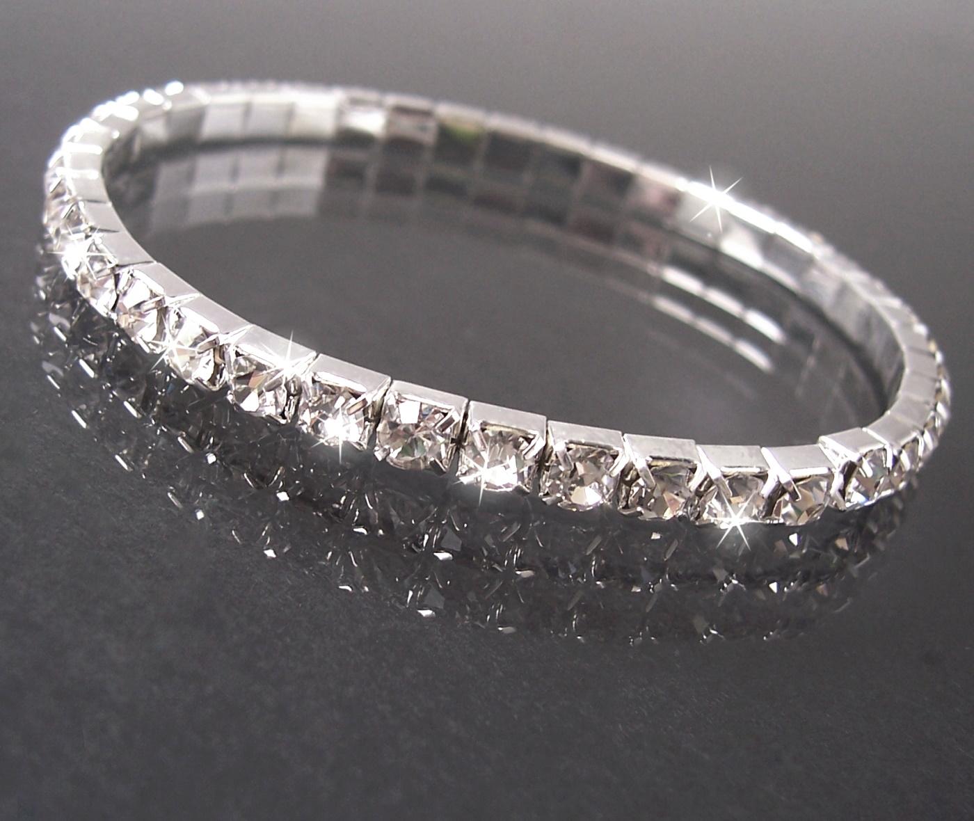 ARMBAND Silber pl STRASS 4mm Damen dehnbar festlich A1116