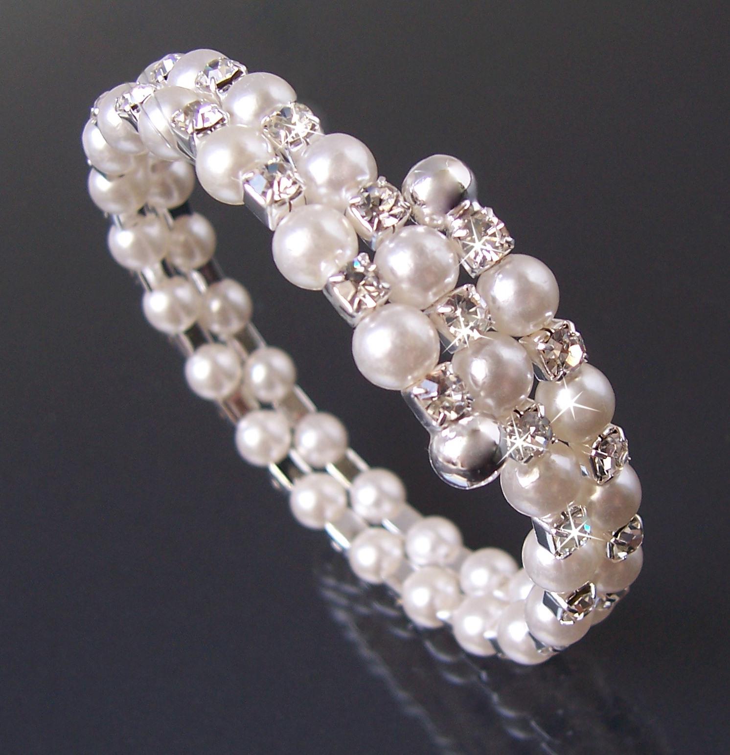 Armreif Armspirale 2-reihig Perlen weiß silber Strass Kommunion A1365