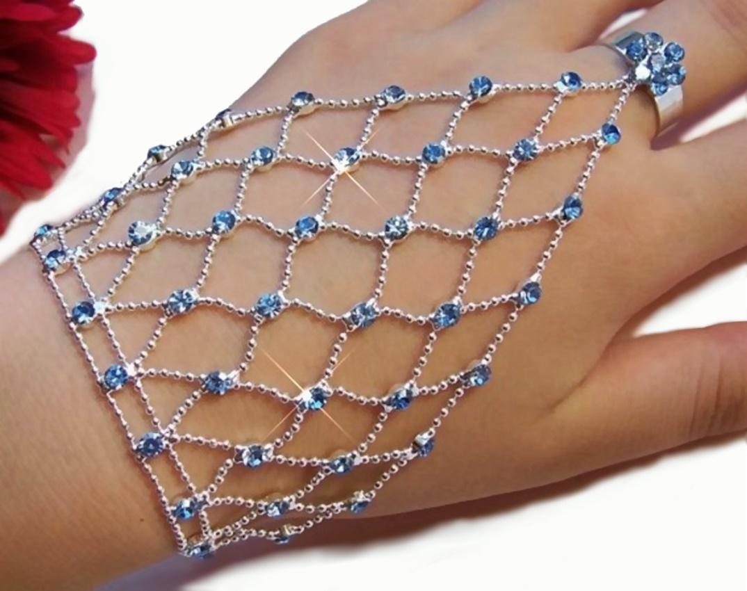 Sklavenarmband Bauchtanz Silber pl Strass blau Armband Ring A1375