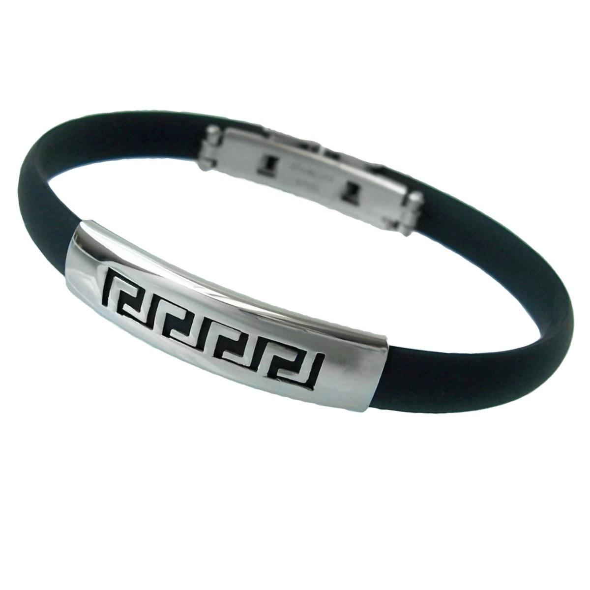 Surferarmband Edelstahl Armband Herrenarmband schwarz Mäander A14
