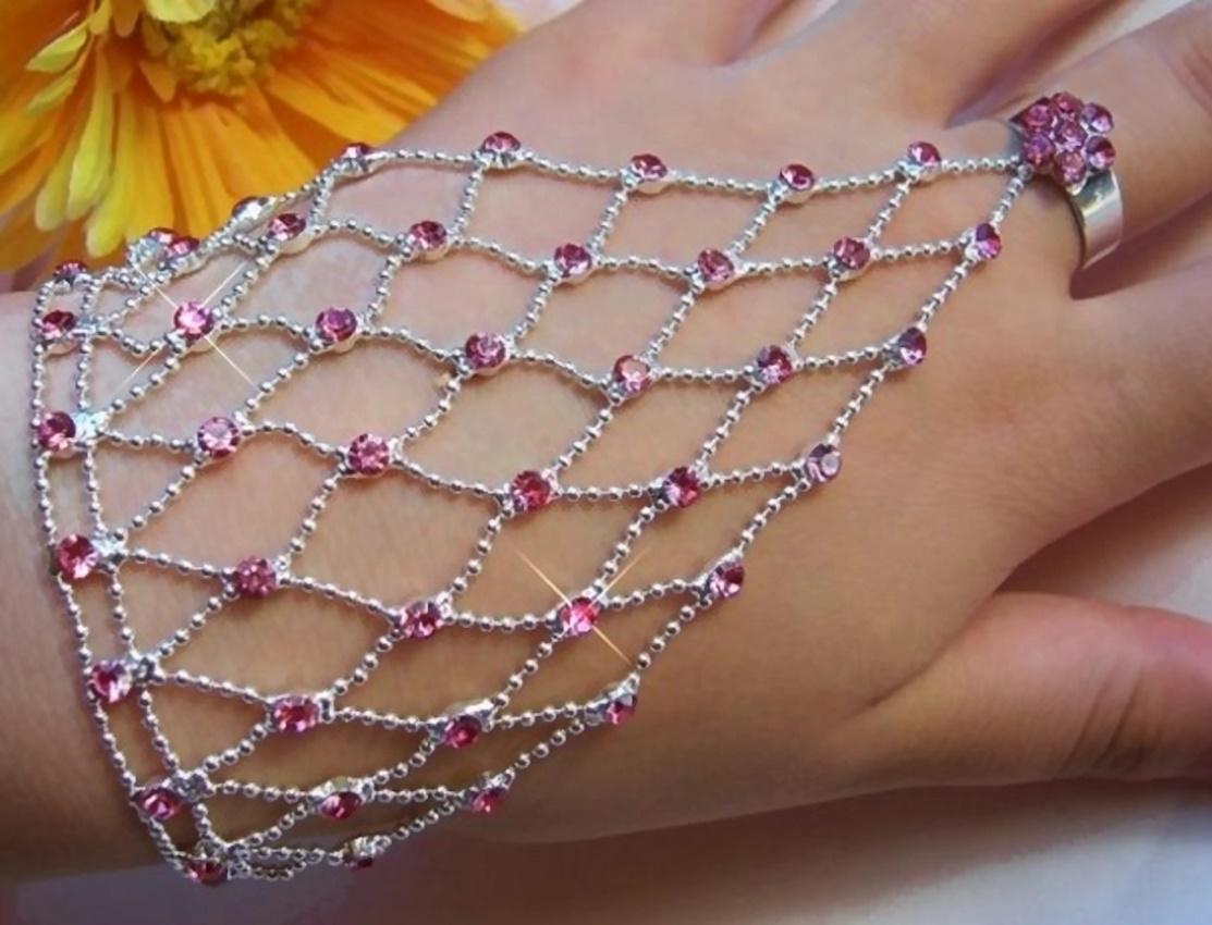 Sklavenarmband Bauchtanz Silber pl. rosa Strass Armband Ring A1510