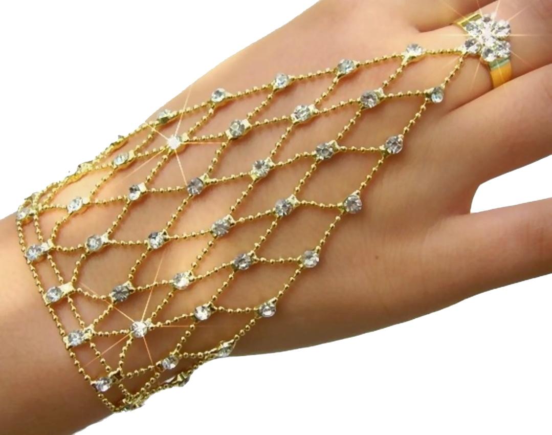Sklavenarmband Handkette Bauchtanz Gold pl. Strass Armband Ring A1511