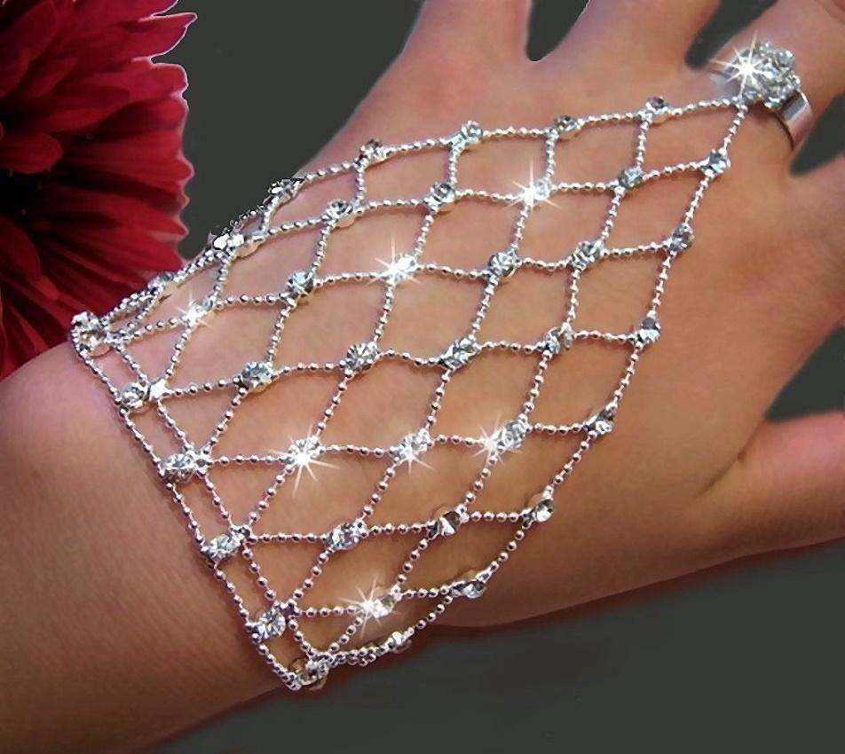 Sklavenarmband Bauchtanz Silber pl Strass Armband Handkette Ring A1526