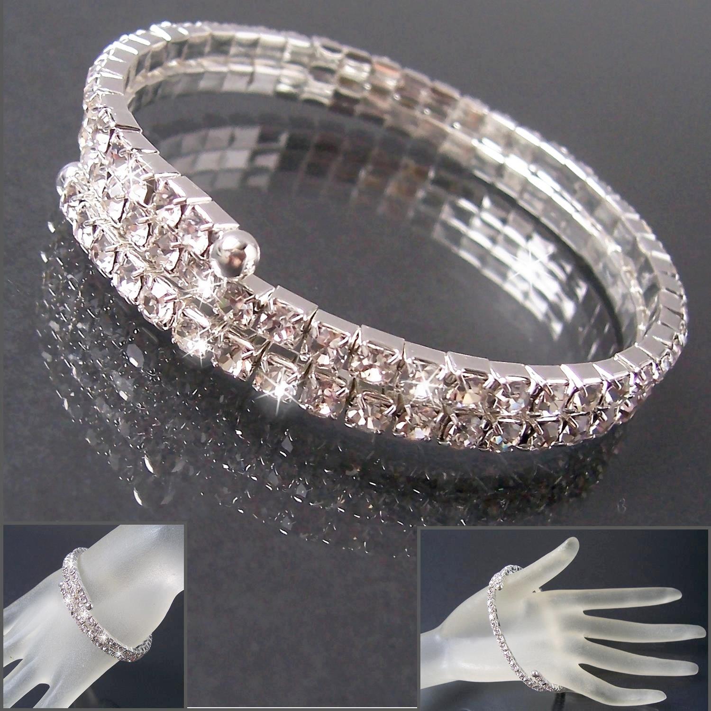 Armband Silber 2reihig Armreif Strass Hochzeit BrautSchmuck Ball A1655