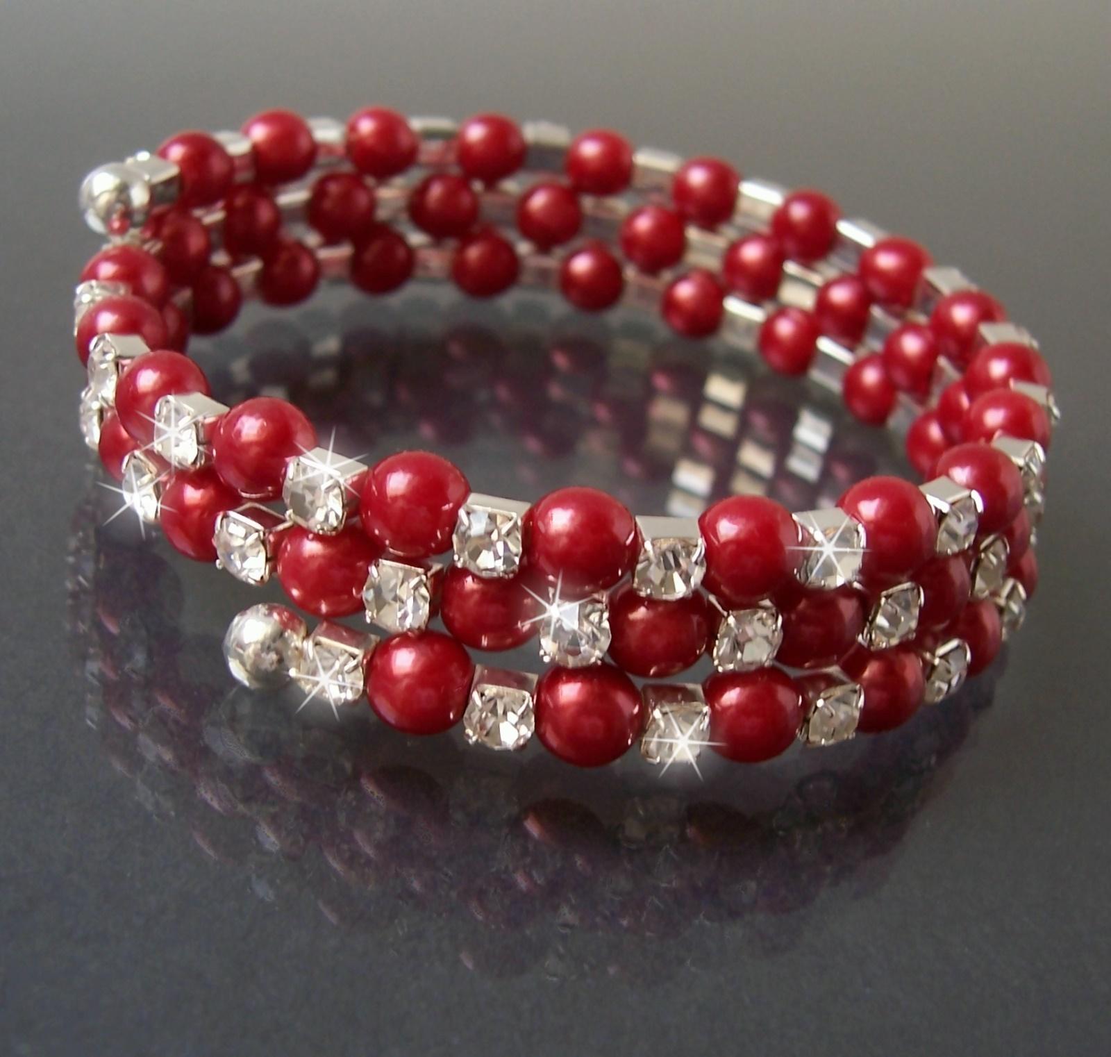 Armreif Silber Perlen Rot Strass klar Armreifen Spiralform A1835