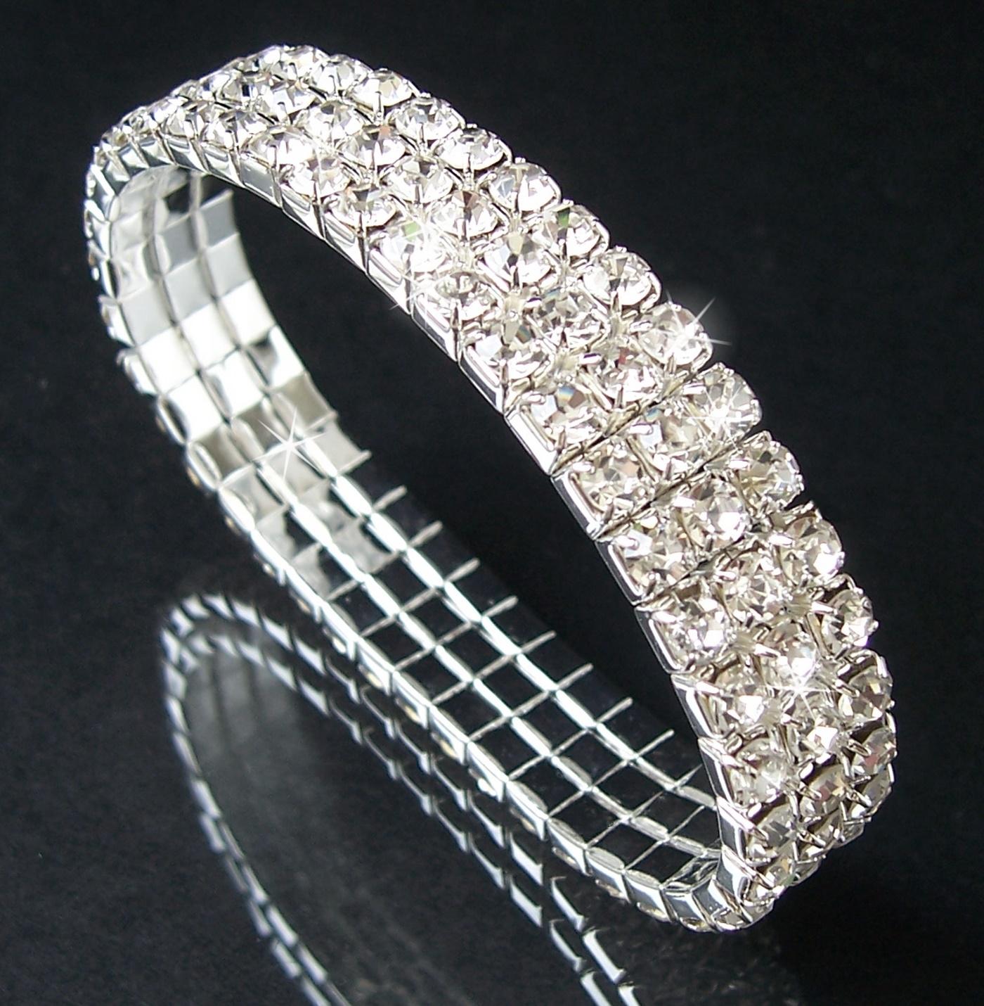 Armband Silber pl. stretch 10mm Strass Braut Schmuck Damen A2131