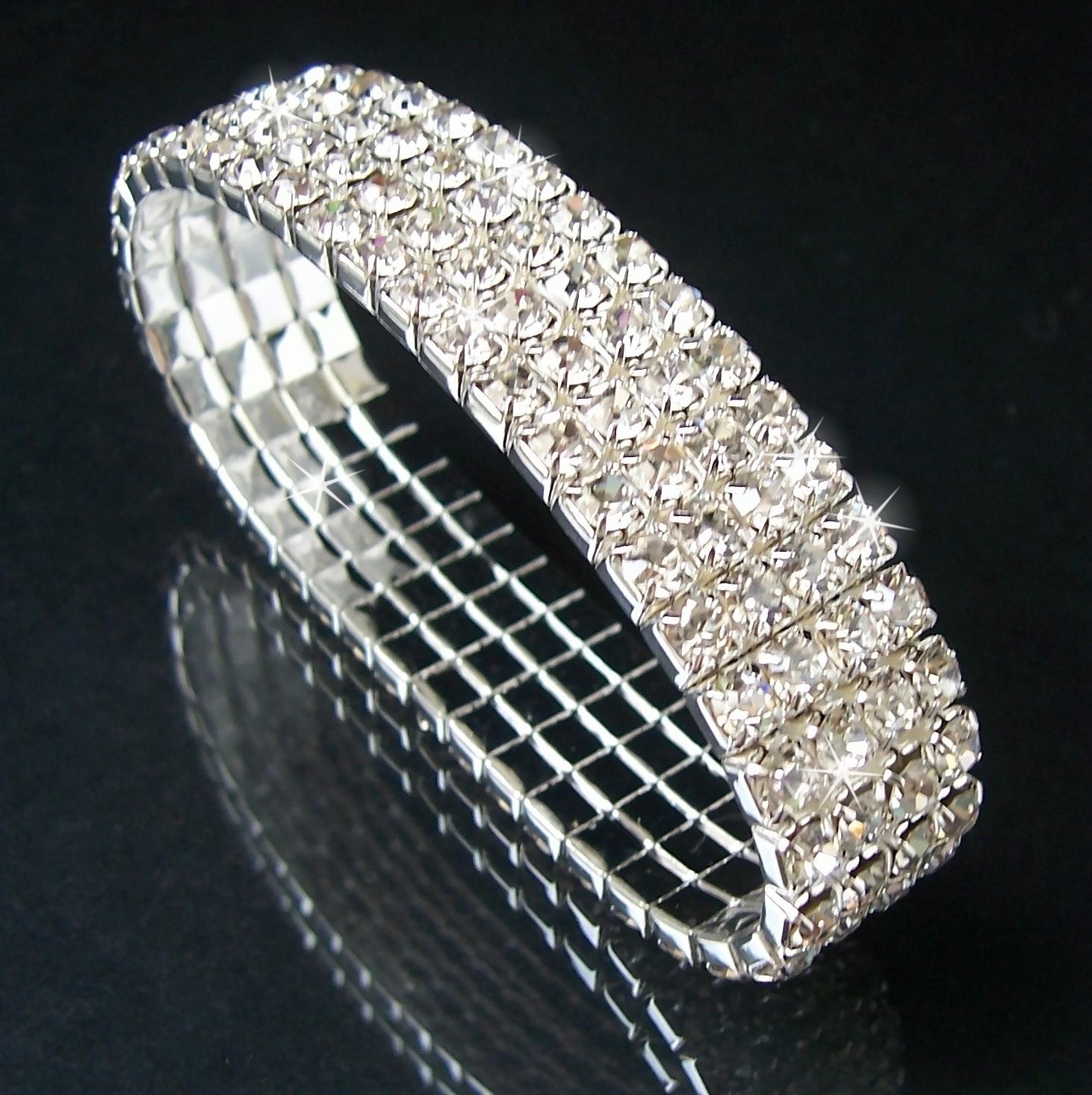 Armband Silber pl. stretch 14mm Strass Braut Schmuck Damen A2132