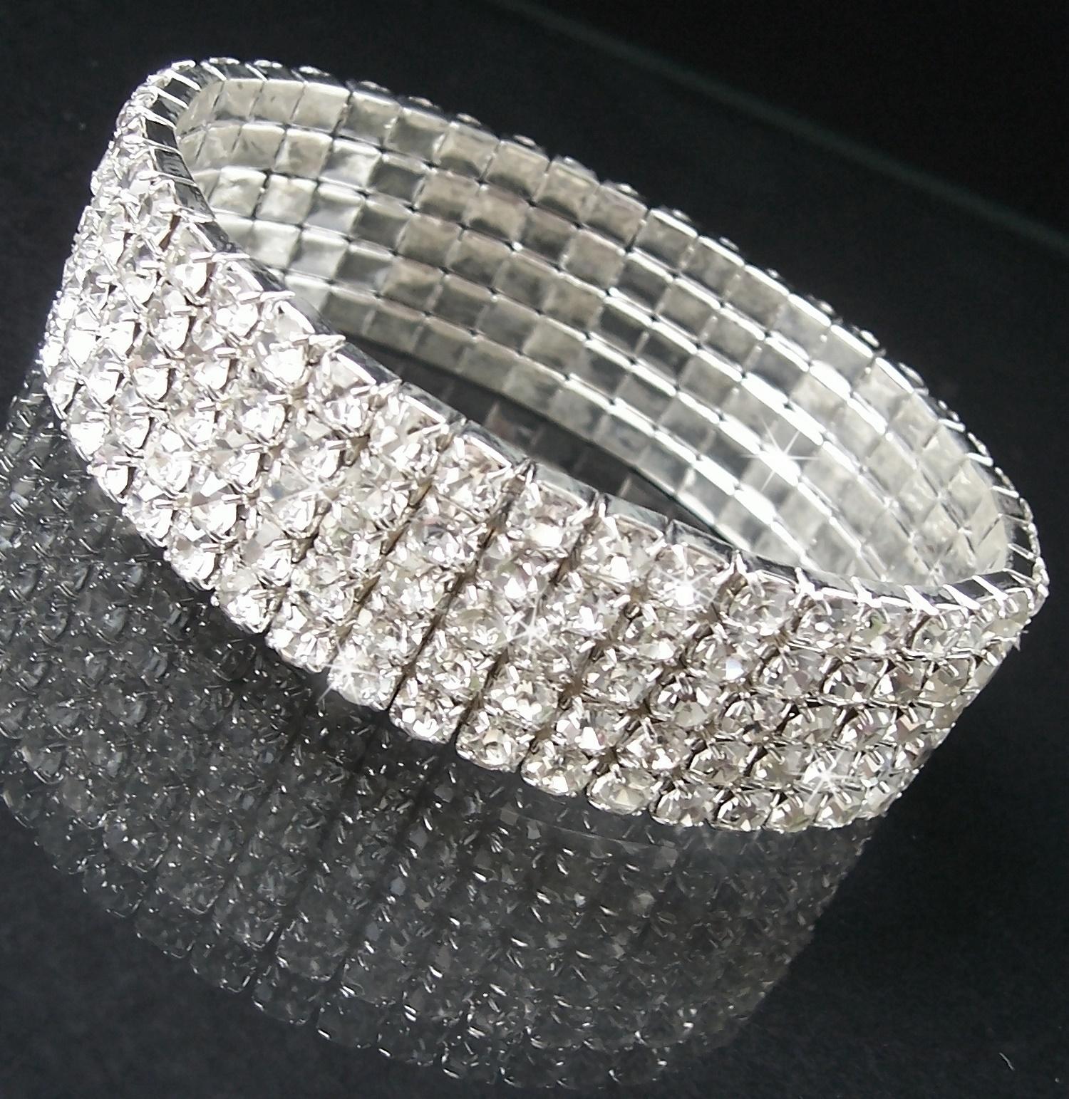 Armband Silber plattiert 5-reihig Strass Schmuck Damen dehnbar A2133