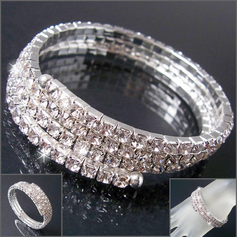Armreif Strass Armband 3-reihig Spirale Silber Schmuck Hochzeit A2219