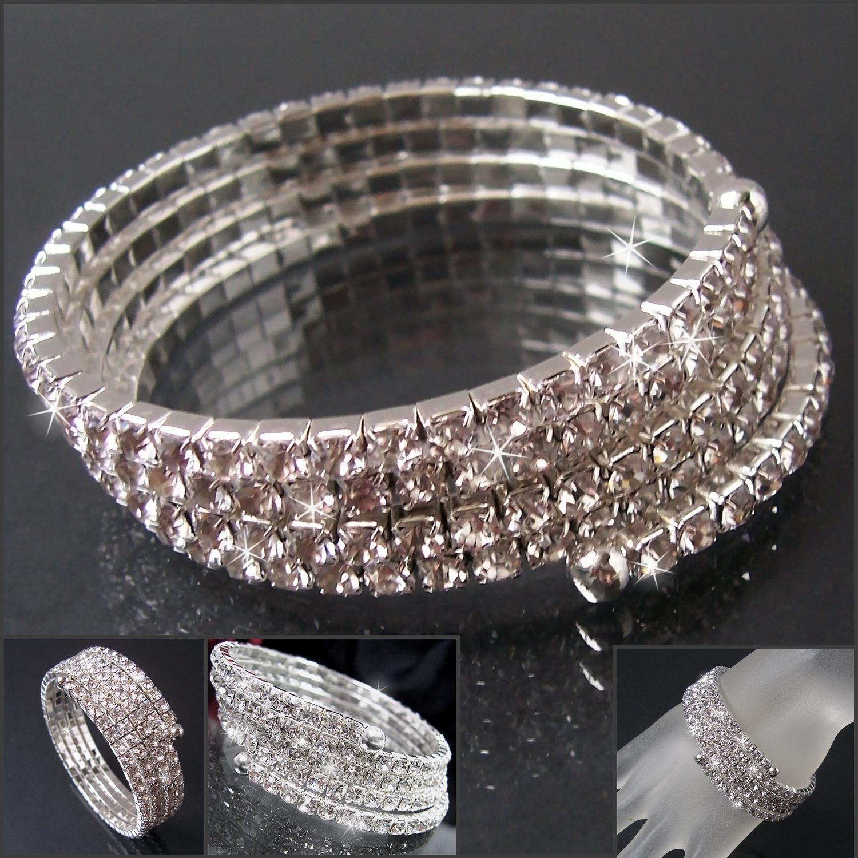 Strassarmband 4-reihig Armreifen Silber Armband Braut Schmuck A2253
