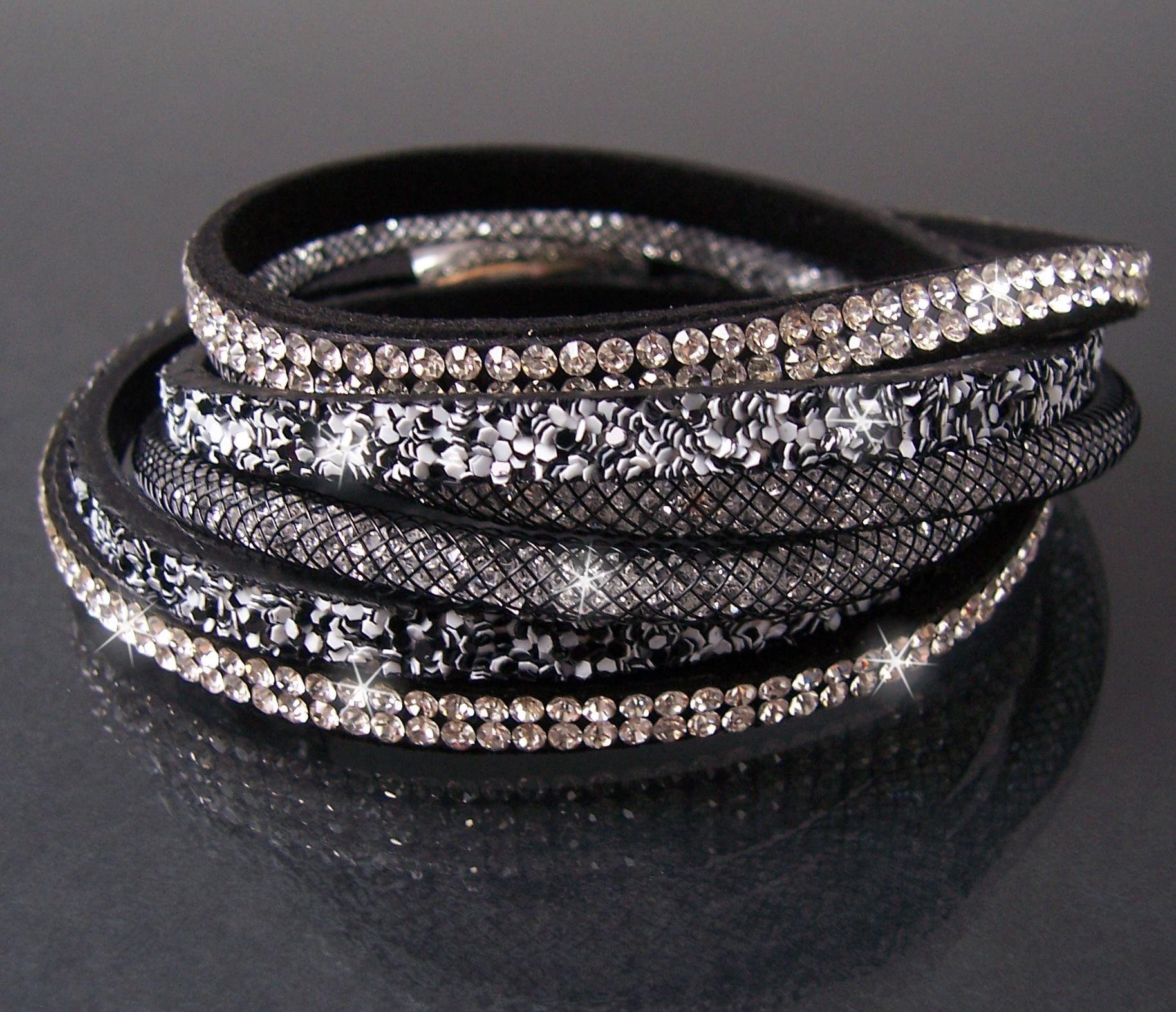 2-fach Slakearmband Armband Leder Glitzer Strass Schwarz-weiß A443