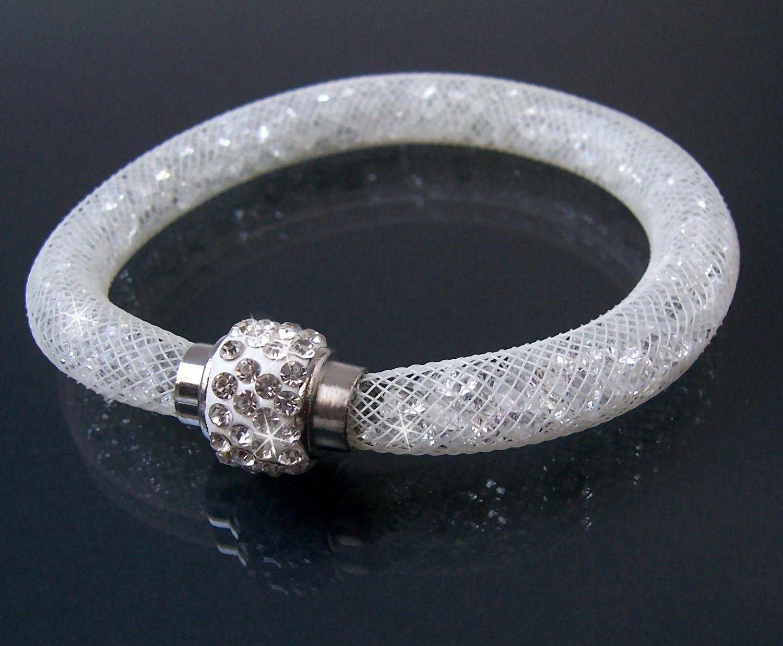 A451# Armband Kristalle in Nylonnetzschlauch Shamballa Star cremeweiß