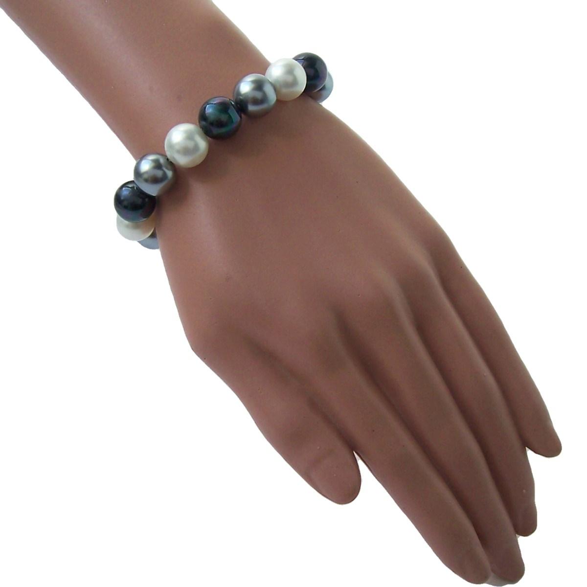 Armband Muschelkern Perlen Multicolor grau Perlenarmband A727