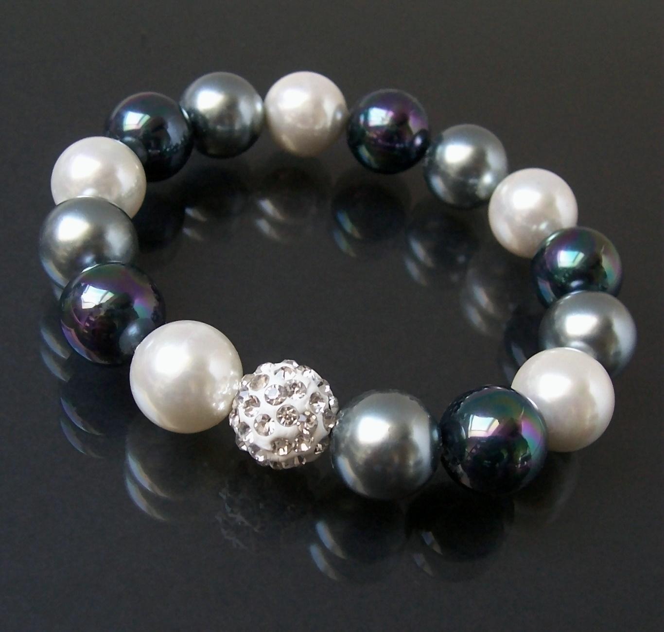 Armband Muschelkern Perlen 12mm weiß-grau Perlenarmband Strass A768
