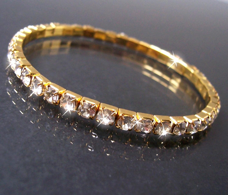 Armband Gold plattiert 1-reihig Strass Schmuck Damen dehnbar A77702