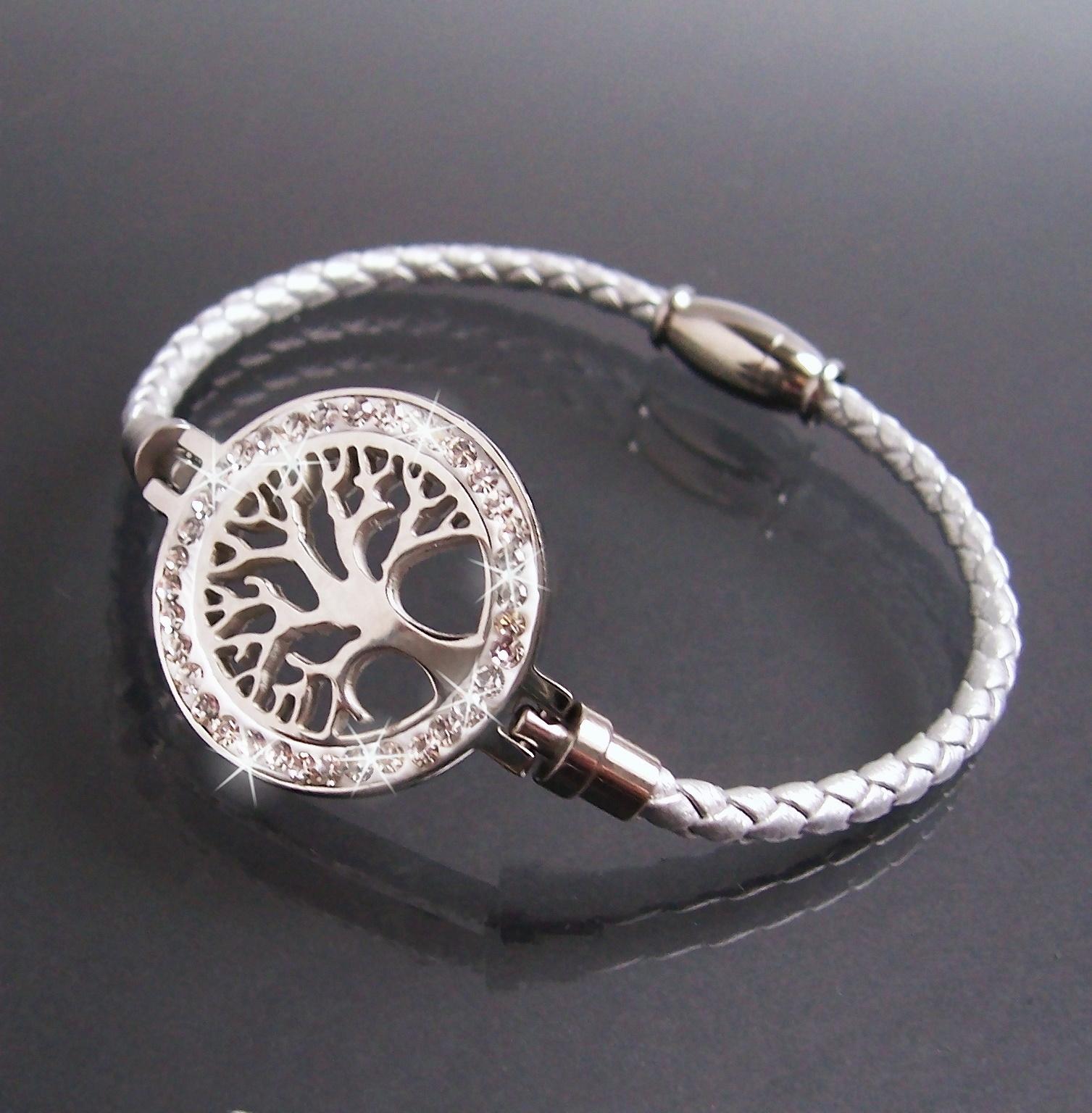Armband Leder silber Edelstahl Lebensbaum Strass Schmuck A77706