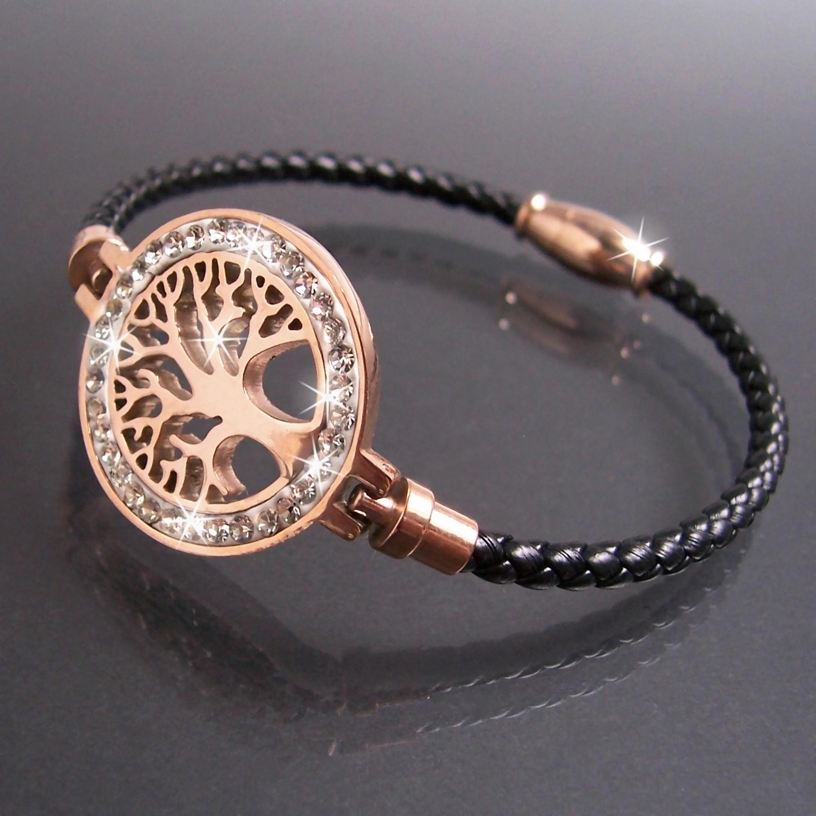 Armband Leder schwarz Edelstahl Lebensbaum rosé Strass Damen A77708