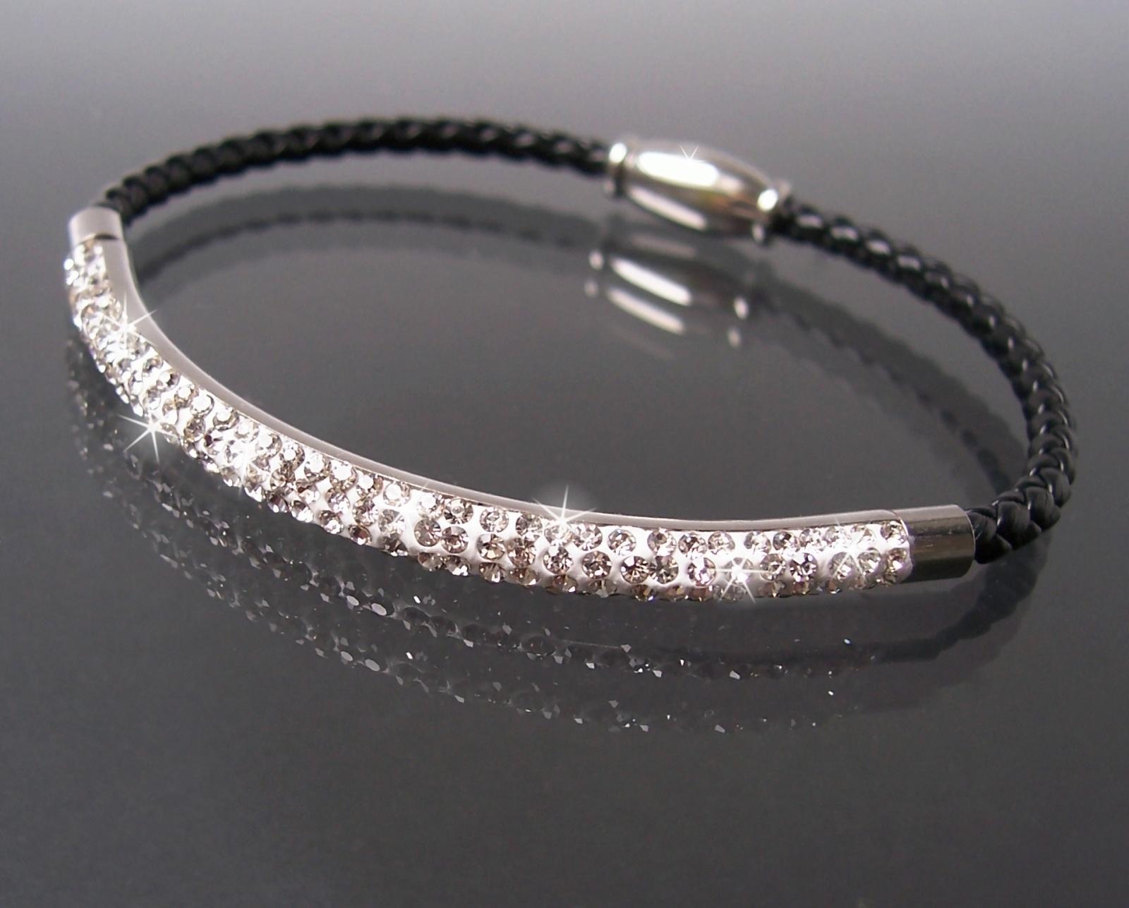 Armband Leder schwarz Edelstahl silber Strassreif Damen Schmuck A77709
