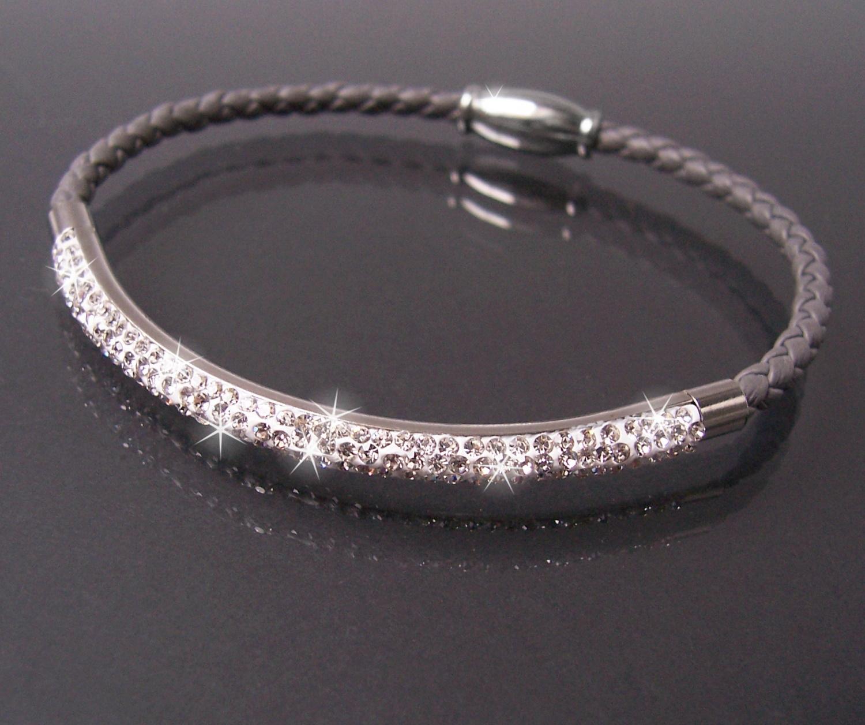 Armband Leder grau Edelstahl silber Strassreif Damen Schmuck A77711