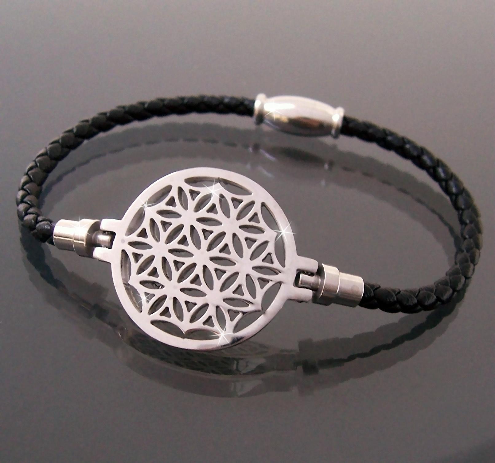 Armband Leder schwarz Edelstahl Blume des Lebens Damen A77739