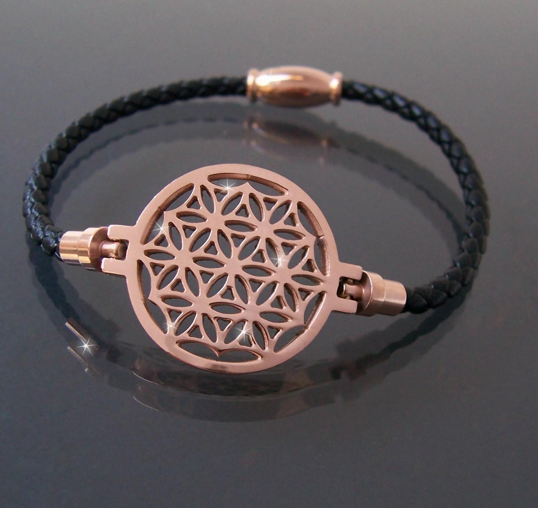 Armband Leder schwarz Edelstahl Blume des Lebens rosé Damen A77740