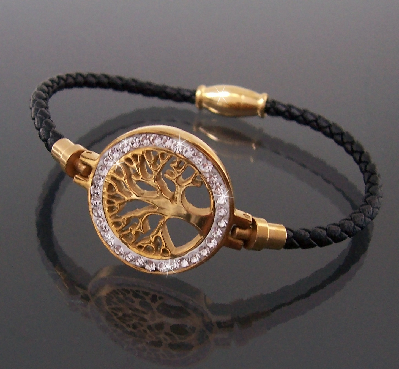 Armband Leder schwarz Edelstahl Lebensbaum gold Strass Damen A77741