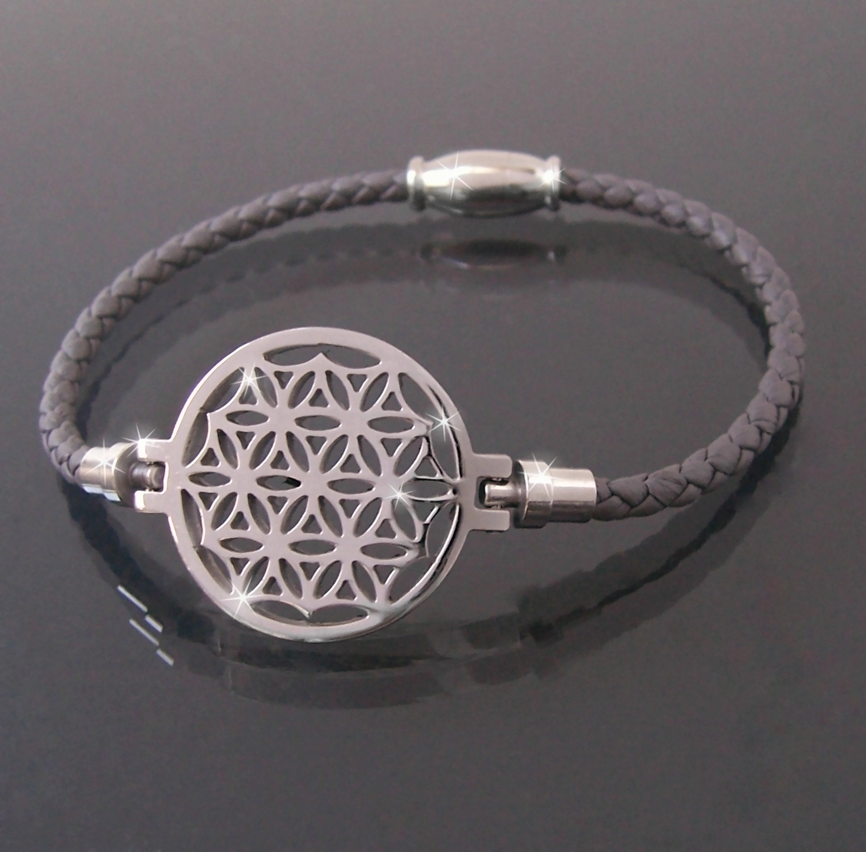 Armband Leder grau Edelstahl Blume des Lebens Damen A77743