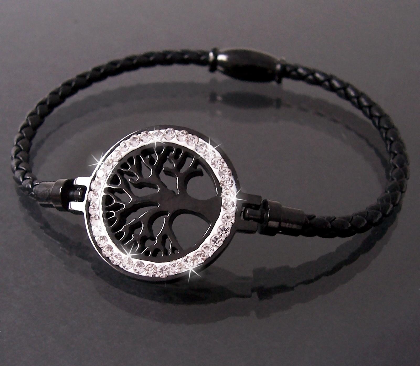 Armband Leder schwarz Edelstahl Lebensbaum Strass Magnet Damen A77745
