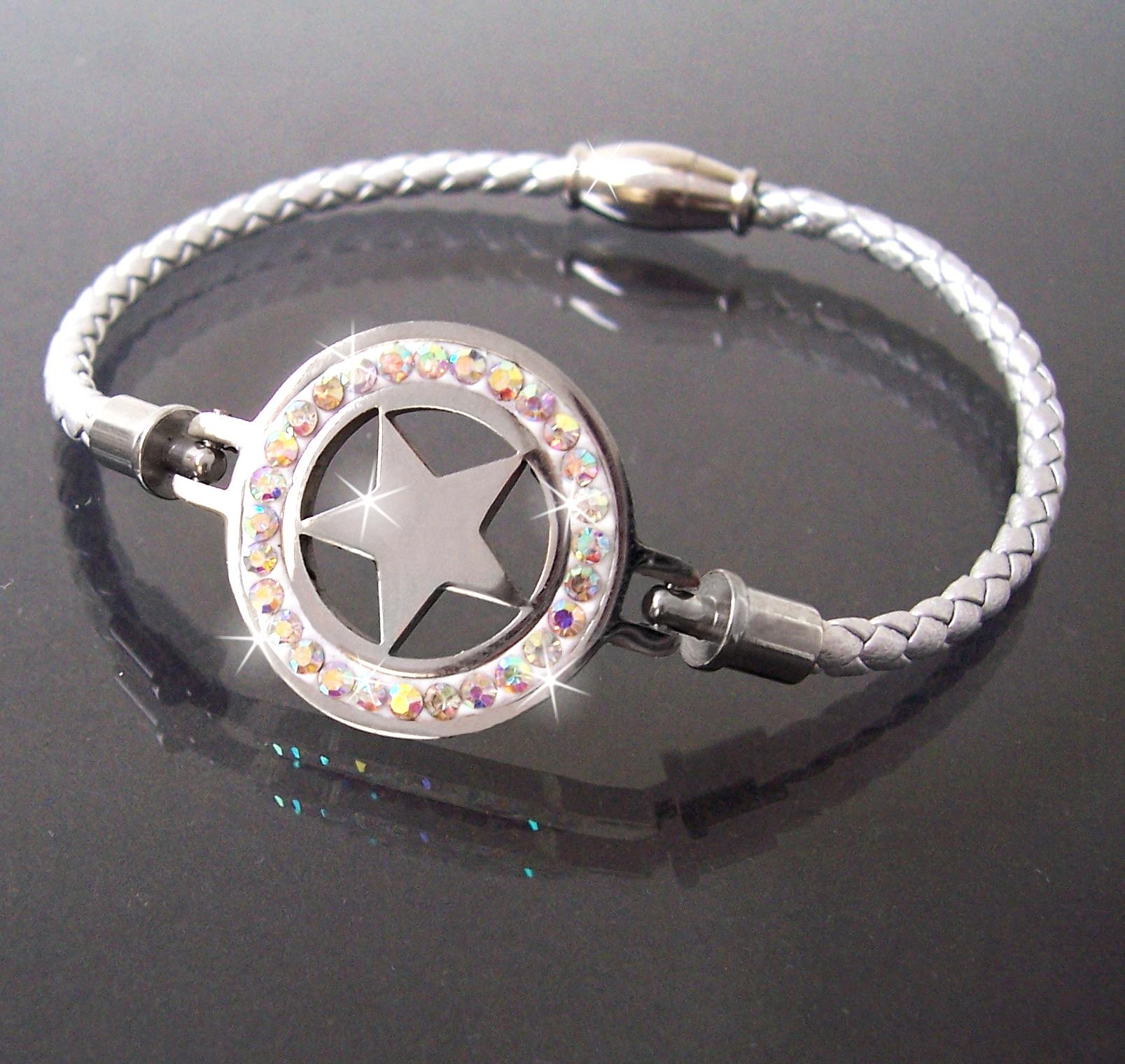 Armband Leder silber Edelstahl Magnet Stern Strass Damen A77747