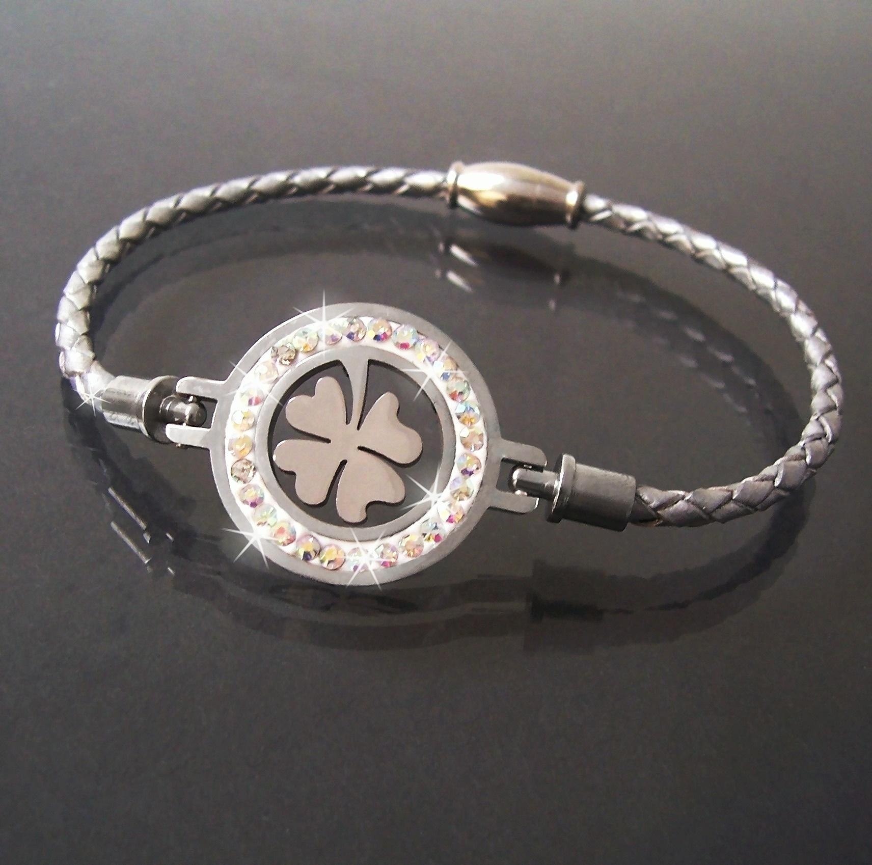 Armband Leder silber Edelstahl Magnet Kleeblatt Strass Damen A77749